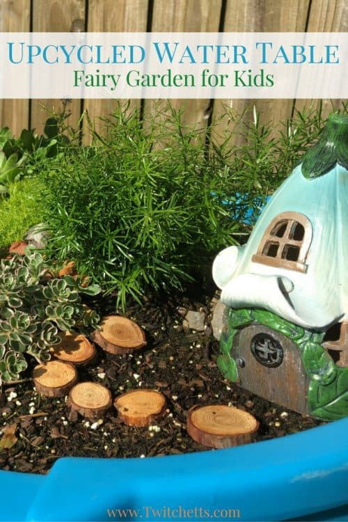 Create an epic fairy garden for kids using an old water table. Instead of trying to get it clean, let your kids experiment with growing plants and creating a mini garden.