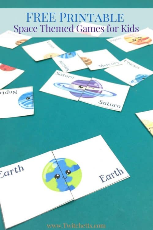 Grab this free printable and play two space themed games. This printable solar system game is perfect for preschoolers. Get them interested in outer space by playing a matching game or a fun round of memory.