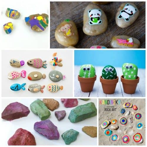 Over 25 Rock Crafts that Kids can create. Stone painting art projects that are simple enough for preschoolers, kindergartners, or grad school children. Use these rock painting techniques for rock hunting, gift giving, or rock collecting!