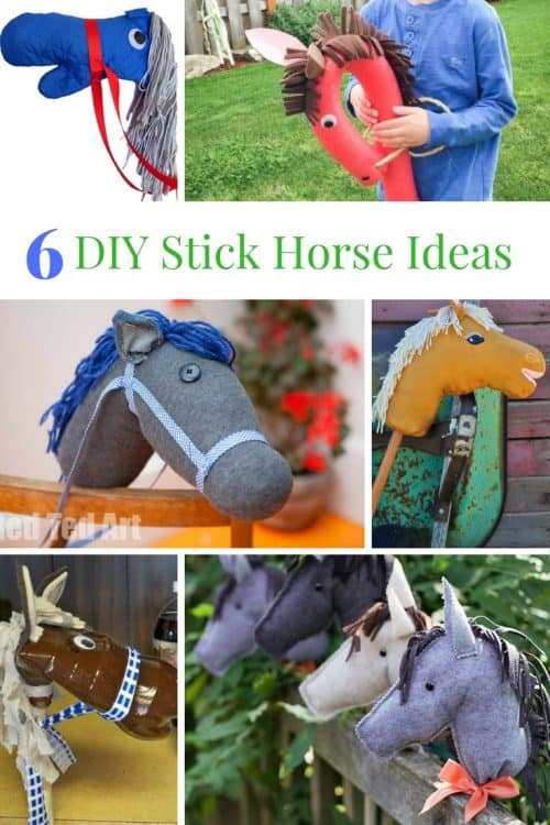Find the perfect stick horse DIY idea! Whether you're going for a stick horse made from dollar store supplies to breaking out the sewing machine, there is a hobby horse tutorial for you. Sock horse, recycled stick horse, sewn stick horse, dollar store stick horse.