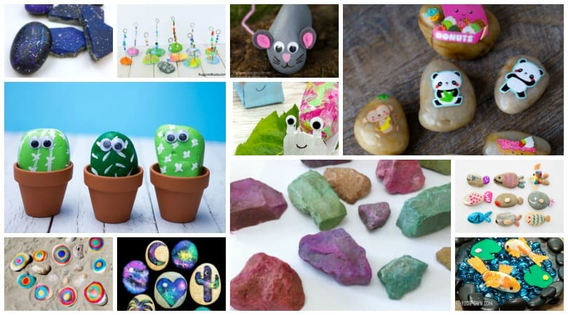 Simple Rock Painting Ideas for Kids ~ Over 25 stone painting techniques for the younger kids