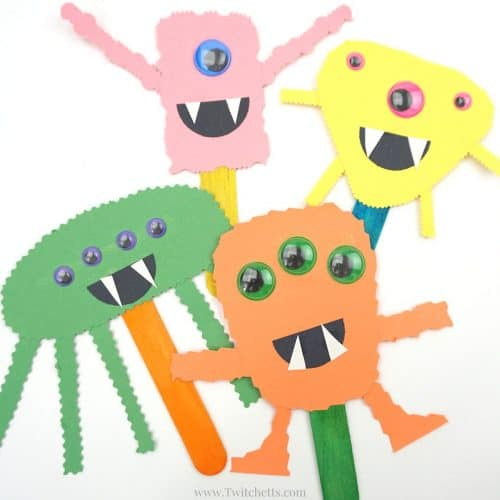 These construction paper monsters will build cutting skills while creating fun and easy Halloween Crafts for Kids. Perfect for an afternoon craft or a quick addition if you are hosting a Halloween party for kids!