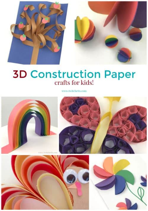 3D paper crafts for kids are a fun way to bring another dimension to your construction paper art.  Don't be intimidated by the 3D, these are all still amazing crafts for kids to create. #papercraftsforkids #3dcrafts #constructionpaperart #3dartprojects #papercrafts #craftsforkids #twitchetts