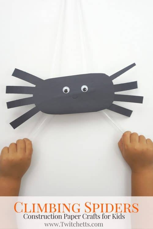 Create Climbing Construction Paper Spiders PIN2 construction papers spiders using black construction paper. A fun Halloween kids craft that they can play with when they're finished! #spidercraft #paperspider #halloween #craftsforkids #constructionpaper #twitchetts