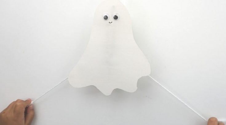 Flying construction paper ghosts