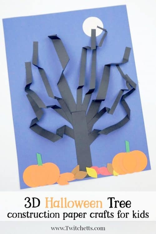 A paper 3D Halloween Tree that perfect for a spooky classroom craft or an afternoon of fun.  Use construction paper to create a cute and creepy paper tree that stands out! #halloween #papertree #3dpapercraft #craftsforkids #spooky #blackconstructionpaper #halloweentree #3dhalloween #constructionpapercraftsforkids #twitchetts