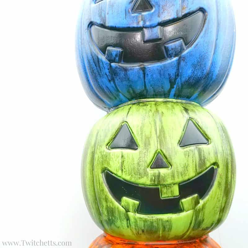 Create this fun weathered plastic pumpkin to use in your Halloween decor this year! This easy Halloween decoration can be created in minutes and used year after year!