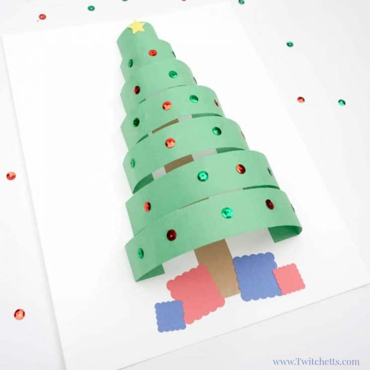 3D paper Christmas tree craft with construction paper