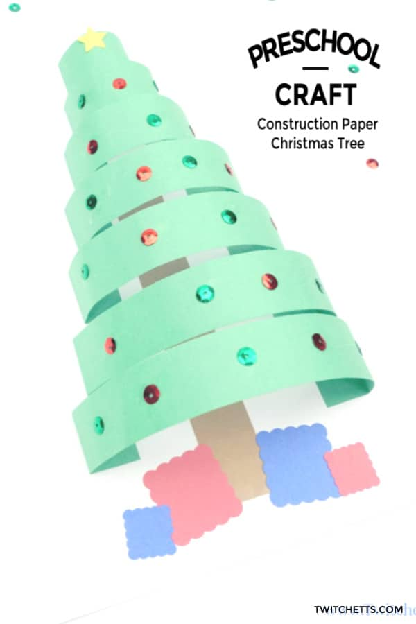 Construction paper Christmas Tree Craft for kids #twitchetts