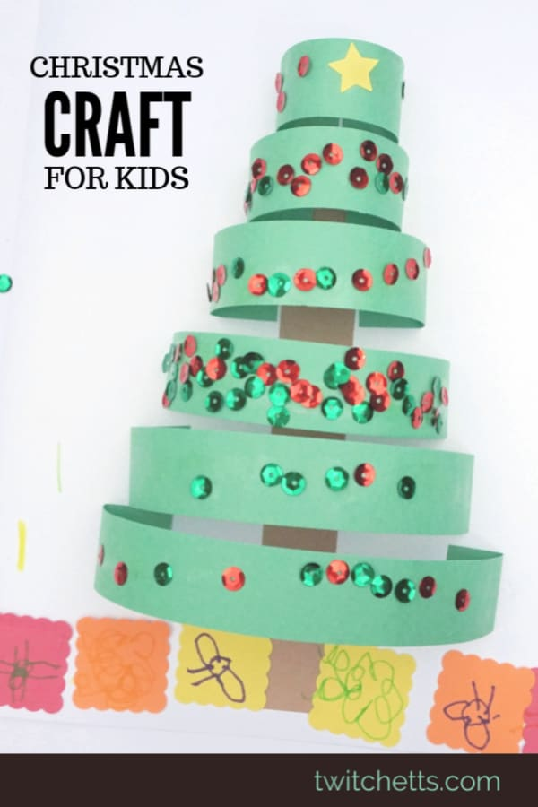 Create this fun and easy 3d construction paper Christmas tree. Perfect for a classroom craft, holiday party, or a group of kids. Template available. #twitchetts