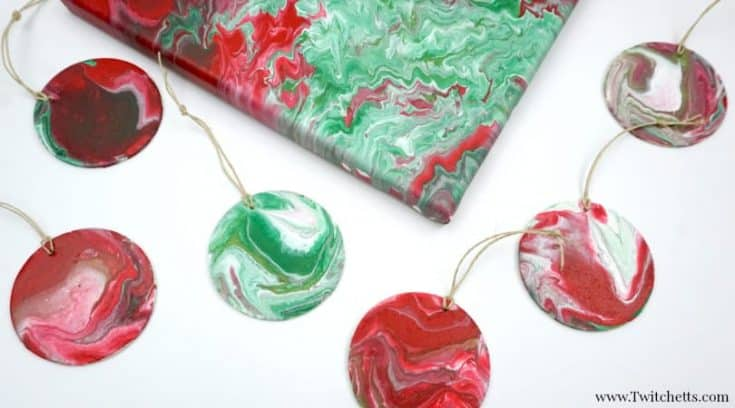 Acrylic poured Christmas ornaments