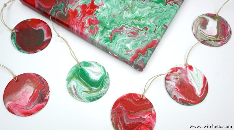 Poured Christmas Ornaments ~ Pour Painting for Kids