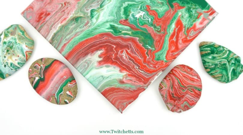 Poured Christmas Rocks ~ Pour Painting for Kids