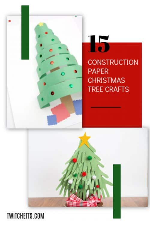 Check out these amazing construction paper Christmas trees. Get inspired to create these fun paper Christmas crafts. The perfect holiday craft for all ages! #christmastree #constructionpaper #paperchristmastree #christmascraft #classroomcraft #holidayparty #easycraftforkids #twitchetts