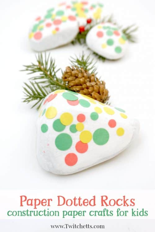 These construction paper dotted rocks are a fun twist on stone painting. #dottedrocks #constructionpaper #rockpainting #stonepainting #rockdecorating #forkids #twitchetts