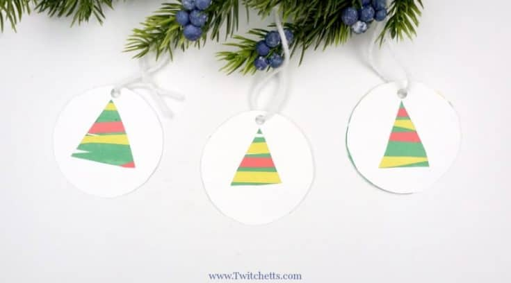 How to make an easy construction paper Christmas tree ornament
