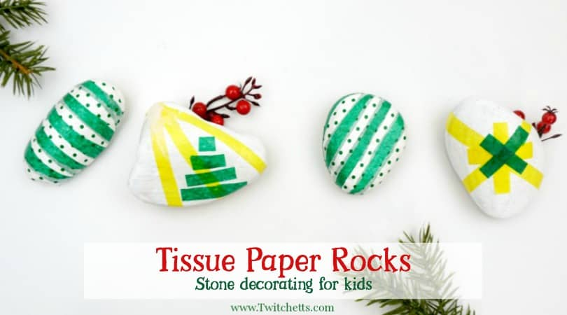 How To Make Tissue Paper Christmas Rocks With Kids