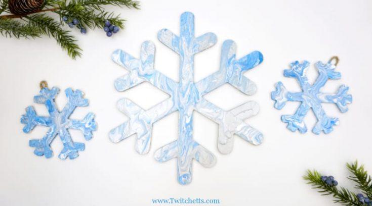 Pour Painted Snowflake Decorations
