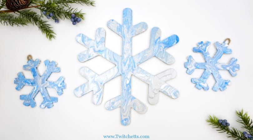 Pour Painted Snowflake Decorations ~ Winter Art For Kids
