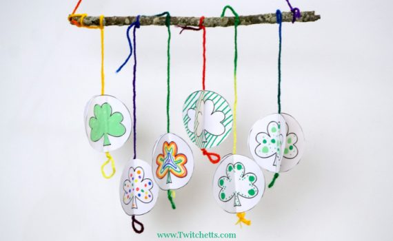 Use our 3D Paper Shamrock Template to create a funmobile! It's the perfect St Patrick's Day craft for kids of all ages.