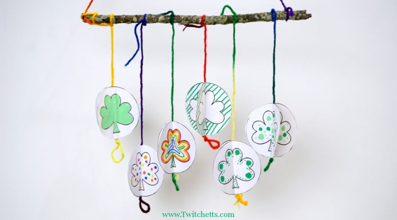 How to make a 3D paper shamrock mobile with our shamrock template