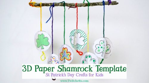 Use our 3D Paper Shamrock Template to create a fun mobile!  It's the perfect St Patrick's Day craft for kids of all ages.