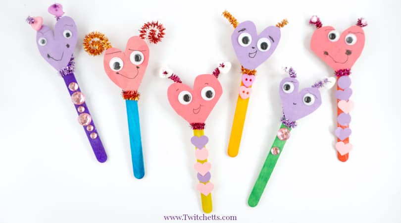 How to make construction paper heart puppets for Valentines Day