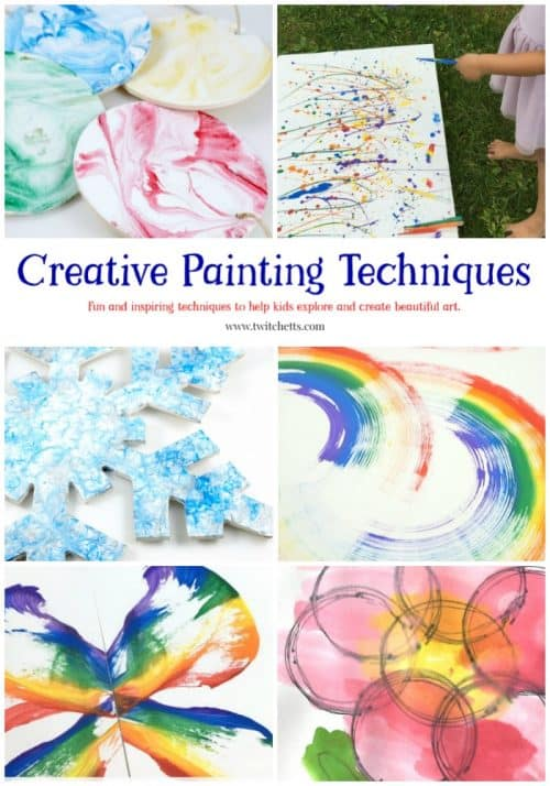 These Creative Painting Techniques are fun art projects for kids. From pour painting to rock painting there is something for all ages!