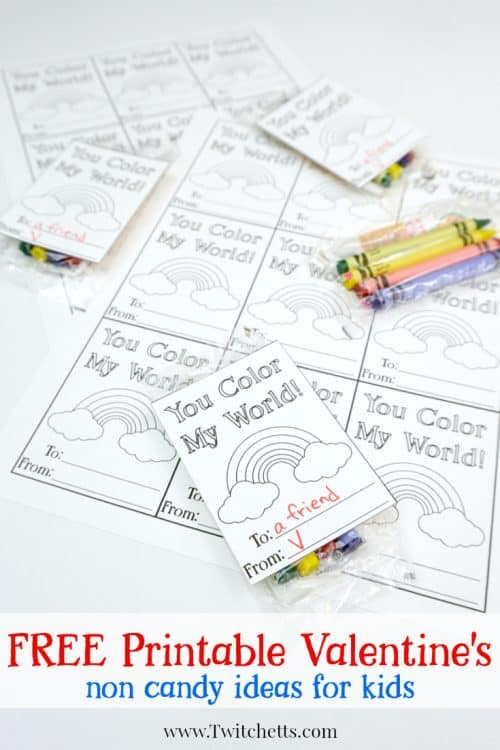 Your kids will LOVE passing out these printable valentine's day cards to color. Combine the cards with a small pack of crayons, and your children will fall in love with these non candy Valentine's idea!
