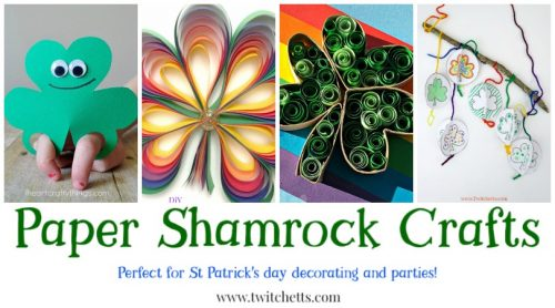 Paper Shamrocks. Fun St Patrick's Day crafts for kids. Perfect for decorating your classroom and entertaining at your St Patty's Day Party