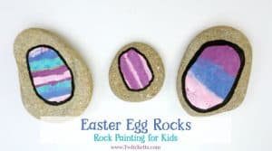 Beautiful and one of a kind Easter rocks. This rock painting idea for kids is a great way for them to make fun Easter egg rocks to hid around town or give to loved ones.