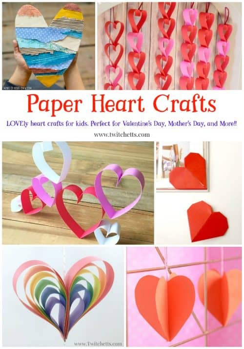 Paper Heart Crafts for Kids ~ Perfect for Valentine's Day, Mother's Day or any other time you want to share a LOVEly craft gift. #paperheartcrafts #paperheart #valentinesdaycraftsforkids #mothersday #mothersdaycraftsforkids #heartart #constructionpapercraftsforkids #craftsforkids #twitchetts