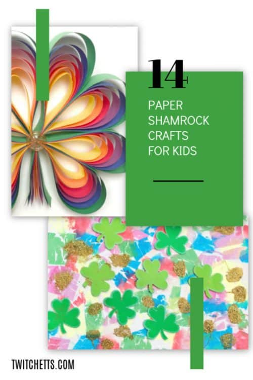Paper Shamrocks. Fun St Patrick's Day crafts for kids. Perfect for decorating your classroom and entertaining at your St Patty's Day Party #twitchetts
