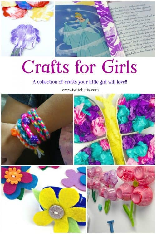 Crafts for Girls. Little girls will love this collection of beautiful arts and crafts projects. From lots of pink and tons of flowers, there is something for the girlie girl who loves the frills. #craftsforgirls #pinkcrafts #flowercrafts #littlegirls #girlygirl #craftsforkids #twitchetts