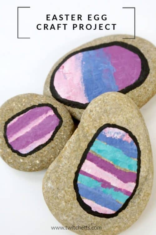 Easter rock painting idea for kids. Simple rock painting technique. Paint easter eggs onto rocks. #twitchetts