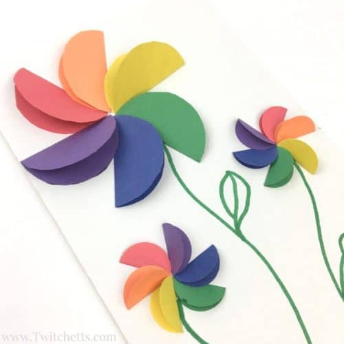These construction paper rainbow flowers are perfect diy paper flowers for your kids to make! These a fun paper flowers for a kids craft.