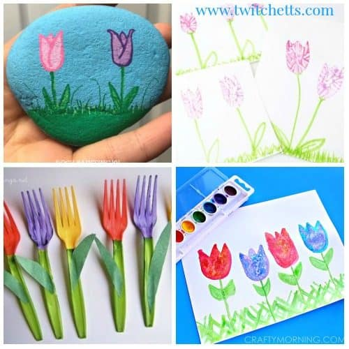 Tulip crafts for kids. Tulips Art projects for kids. From tulip painting to paper tulips. These spring crafts are perfect for kids as young as preschool! #tulipcraftsforkids #tulipcraftpreschool #tulipartprojectsforkids #springcraftsforkids #springartprojects #papertulips #tulippainting #tulipart #twitchetts