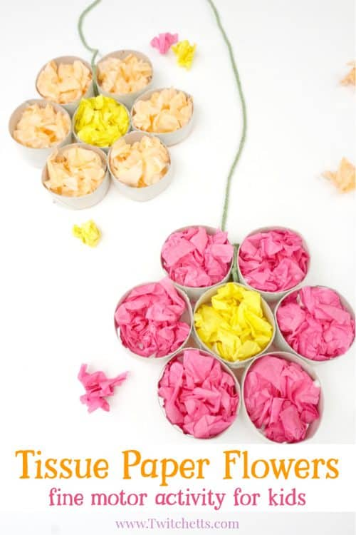 This tissue paper flowers activity helps to strengthen your child's fine motor skills while creating a fun flower craft!