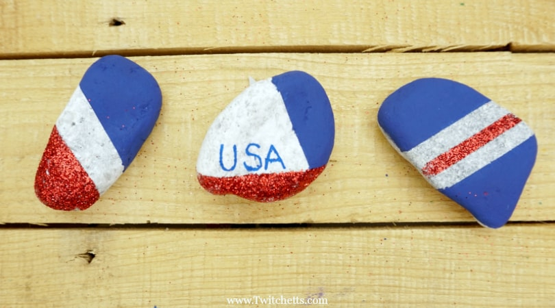 How to make sparkling patriotic rocks with kids