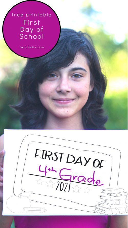 """Girl holding a sign. Sign reads """"first day of 4th grade 2021"""""""
