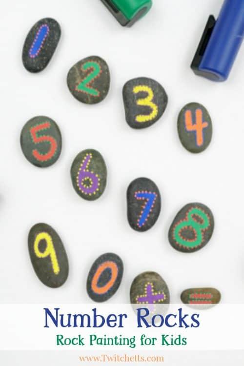 how to make simple number rocks for educational fun! #numbers #rocks #learning #kindergarten #preschool #math #fun #activitiesforkids #twitchetts