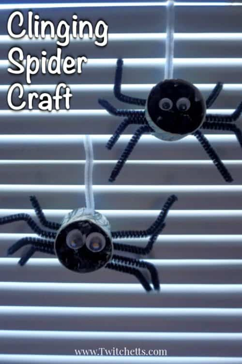 Create crepe paper spiders for a Halloween kid's craft that's loads of fun to create. These spider crafts are perfect for decorating a classroom or your living room. #spider #craft #crepepaper #tissuepaper #pipecleaners #halloween #preschool #finemotor #twitchetts