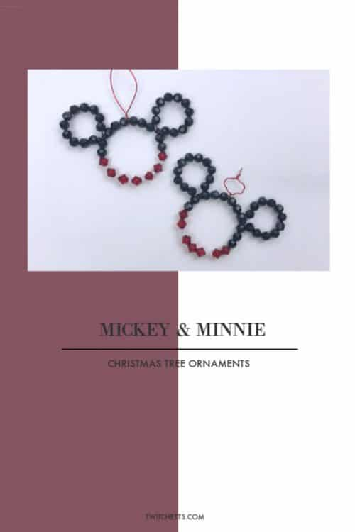 Create fun Mickey and Minnie Christmas ornaments with beads and wire. They will twinkle on the Christmas tree and are fun ornaments that kids can create. #mickey #minnie #disney #ornaments #christmastreedecorations #diychristmas #disneyobsessed #beads #twitchetts