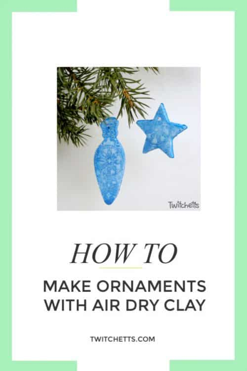 Learn how to makeair dry clay Christmas ornaments with this simple and fun tutorial. Grab a cute cookie cutter and a doily to create a beautiful holiday decoration. #airdryclay #christmasornament #holidaydecor #giftideas #ornamentskidscanmake #cookiecutterornaments #craftsforkids #twitchetts
