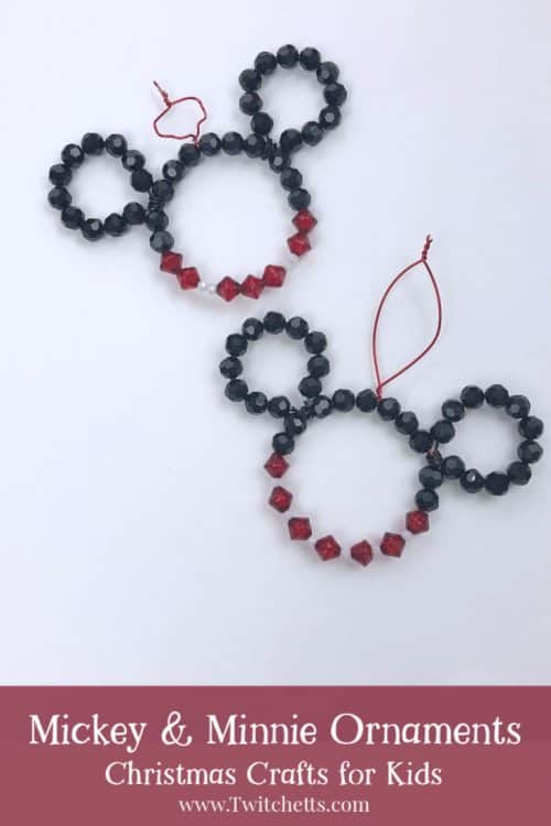create fun mickey and minnie christmas ornaments with beads and wire they will twinkle on the christmas tree and are fun ornaments that kids can create