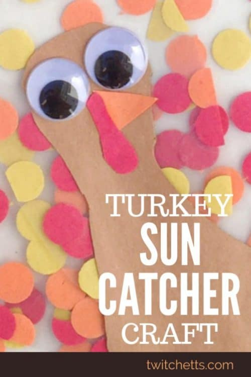 These turkey sun catchers combine fine motor practice with construction paper to create a beautiful Thanksgiving craft. Create them with your classroom or on a nice fall afternoon. Then hang them in your favorite window for a fun and colorful Thanksgiving decoration. #turkey #suncatcher #thanksgiving #finemotor #preschoolcraft #thanksgivingdecor #easycraftforkids #kidscrafts #twitchetts