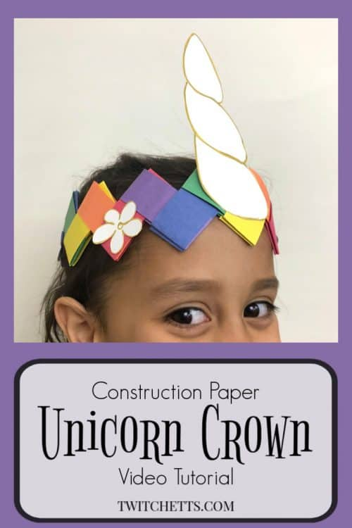 Create a fun unicorn crown using construction paper. Your child will love wearing this paper crown while pretending to be a unicorn. #unicorn #unicorncrown #unicorncraft #paperunicorn #diyunicorn #dressup #costume #makebelieve #kidscraft #constructionpaper #twitchetts