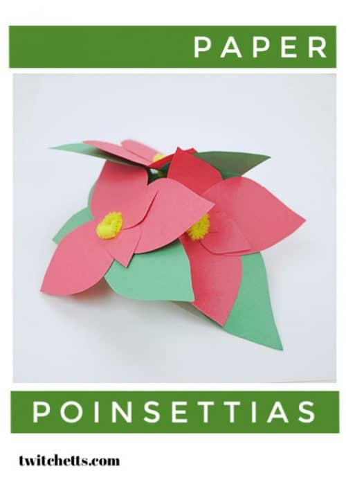Create this paper poinsettia craft that kids will love to see decorating their house or classroom this year. It's a perfect poinsettia decoration for houses with pets and small children. #paperpoinsettia #poinsettiacraft #craftforkids #christmascraft #poinsettiadecoration #christmaspapercraft #constructionpapercraftsforkids #classroomcraft #twitchetts