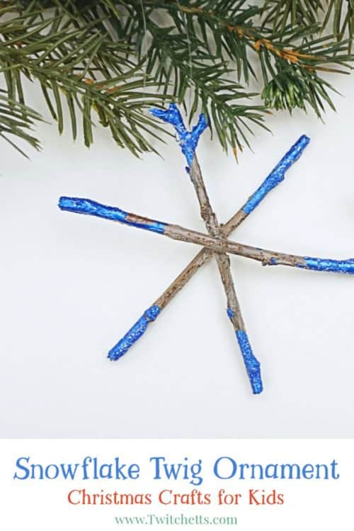 Create beautifully dipped twig snowflake ornaments using sticks from your yard! This is a great handmade ornament that kids can help create. #snowflakeornament #twigornament #twigsnowflake #christmasornaments #kidscrafts #christmascraft #classroomcraft #nature #giftsfromkids #twitchetts