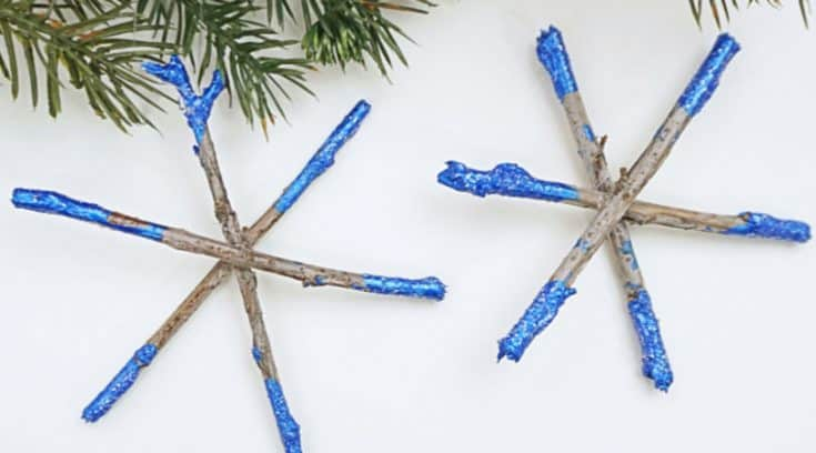 Dipped twig snowflake ornaments